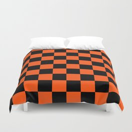 Black and Orange Checkerboard Pattern Duvet Cover