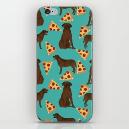 chocolate lab pizza dog breed pet portrait gifts for labrador retriever lovers iPhone Skin