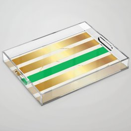 Gold & Green Stripe on Marble Acrylic Tray