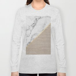 Modern white marble gold stripe wood color block Long Sleeve T-shirt