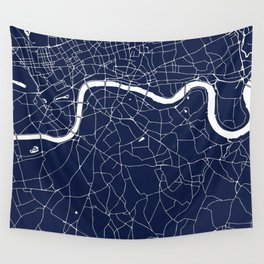 Navy on White London Street Map Wall Tapestry