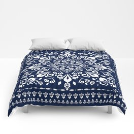 Oriental Damask white on blue #3 Comforters