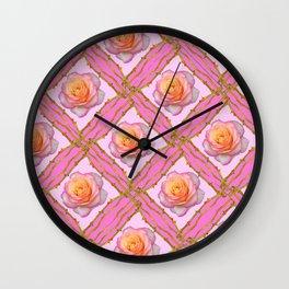CREAMY  ROSES & RAMBLING THORNY CANES ON  PINK  DIAGONAL PATTERNS Wall Clock