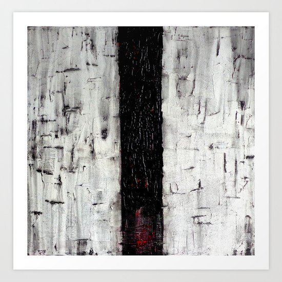 Dark Path - Black and white abstract Art Print
