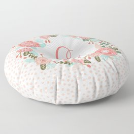 Monogram C - cute girls coral florals flower wreath, coral florals, baby girl, baby blanket Floor Pillow
