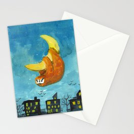 sloth moon night city Stationery Cards