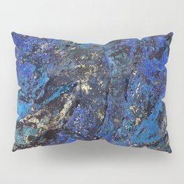 Precious Lapis Lazuli Stone Mineral Blue Gold Pillow Sham