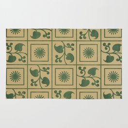 Vintage Green Vines, Leaves and Star Blocks Design Rug