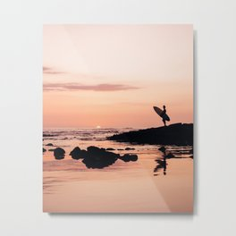 Sunset Surf Reflection Metal Print