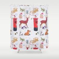 wildlife Shower Curtains featuring Winter Wildlife by minniemorrisart
