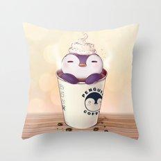 Penguin Coffee Throw Pillow