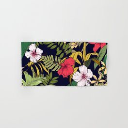 Tropical Island Oasis Floral Pattern Hand & Bath Towel