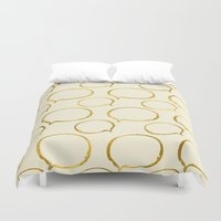 gold foil Duvet Covers featuring Cream Gold Foil 01 by Aloke Design