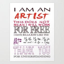 Words of an artist Art Print