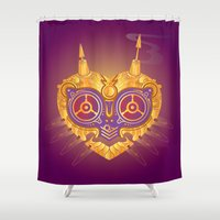 majora Shower Curtains featuring Steampunk Majora by Evan Ayres