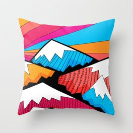 Winter rainbow mountains Throw Pillow