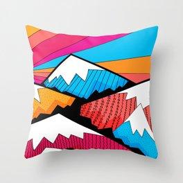 Winter rainbow mountains Throw Pillow