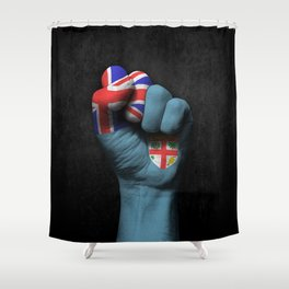 Fiji Flag on a Raised Clenched Fist Shower Curtain