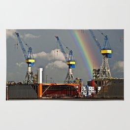 Rainbow over the port of HAMBURG Rug