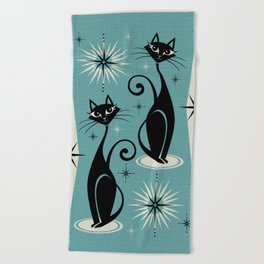 Mid Century Meow Retro Atomic Cats on Blue Beach Towel