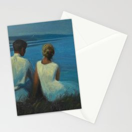 Alone & Together (Romantic Moonlight On the Cliffs Above the Beach and Ocean) by Agnes Slott-Møller Stationery Cards