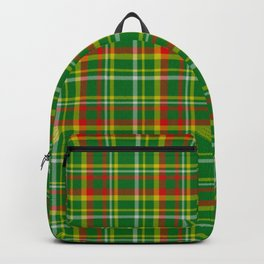 Green Red Yellow and White Plaid Backpack