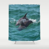 dolphin Shower Curtains featuring Dolphin by Jodisgoing180