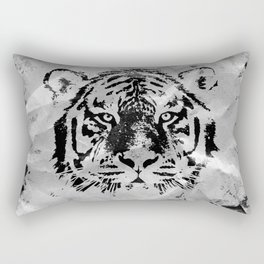 Black and white Tiger portrait  on paper canvas Rectangular Pillow