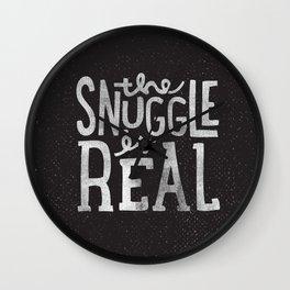 Snuggle is real - black Wall Clock