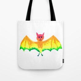 Bat with Heart Eyes Halloween Rainbow Painting Tote Bag