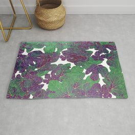 Hand painted abstract gold purple jade green foliage greenery  Rug