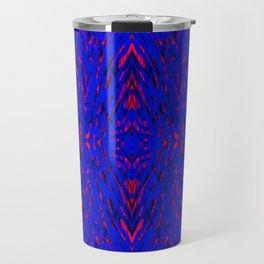 blue on red symmetry Travel Mug