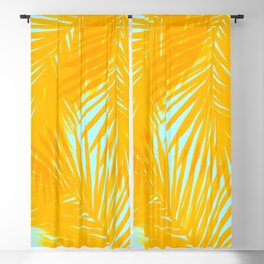 Palms Tangerine & Blue Blackout Curtain