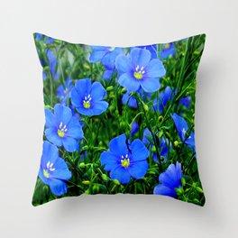Dainty Blue Flax Linum Flowers Throw Pillow