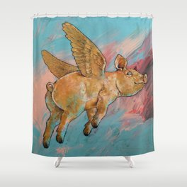 Flying Pig Shower Curtain