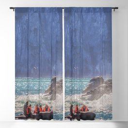 Small boat and waves crashing over rocks Blackout Curtain