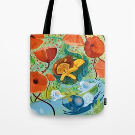 sleeping lion Tote Bag