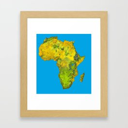 African Continent Topographical Relief Map Framed Art Print