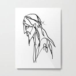 Sketch of a Man Face Metal Print