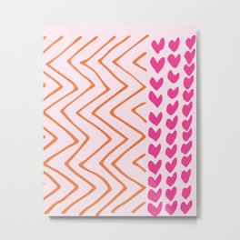 Pink Heart and Zig Zag Pattern Metal Print