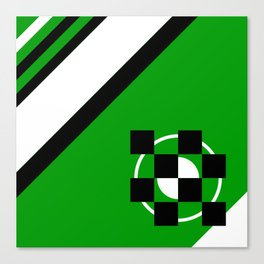 Simplicity - Green, black and white, geometric, abstract Canvas Print