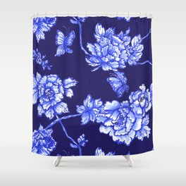 Chinoiserie Foral Navy Shower Curtain