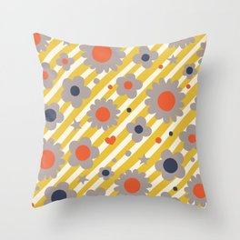 Punk Flower in Primary Throw Pillow