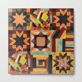 Quilt, Fall Colored Quilt Pattern Metal Print
