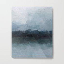 Gray Navy Blue Black Abstract Nature Ocean Painting Art Print Wall Decor  Metal Print