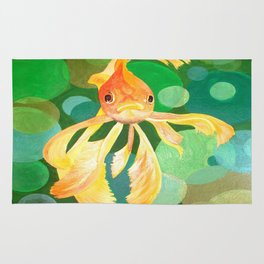 Vermilion Goldfish Swimming In Green Sea of Bubbles Rug