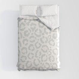 Elegant White Gray Leopard Cheetah Animal Print Comforters