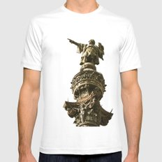 Christopher Columbus White Mens Fitted Tee SMALL