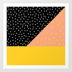 Peach Fuzz Black Polka Dot /// www.pencilmeinstationery.com Art Print
