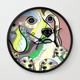 Beagle and Babies Soft Color Palette Wall Clock